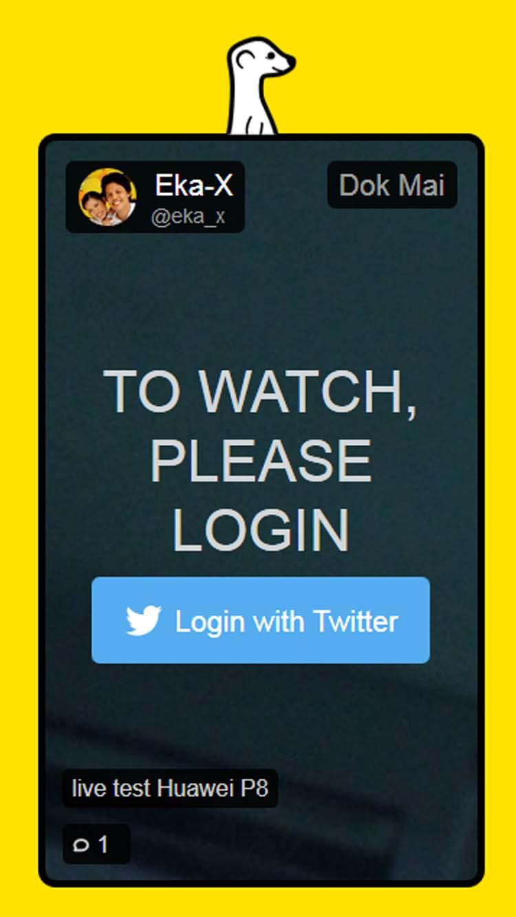 การรับชม Meerkat ผ่านเว็บฯ ที่ต้องล็อกอินทวิตเตอร์