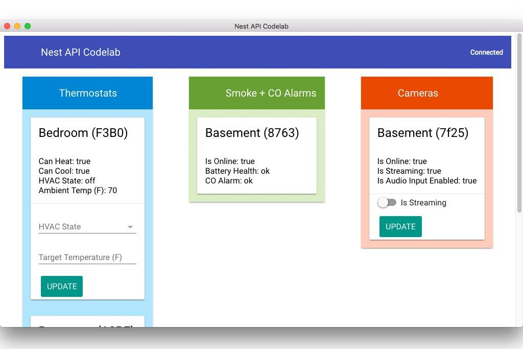Nest API ที่เป็นอุปกรณ์แจ้งเตือนได้ตั้งแต่อุณหภูมิบ้าน เวลาเข้าออก เปิด-ปิด จับสัญญาณควัน โดยสามารถศึกษาได้ด้วยตัวเอง  สามารถตอบโจทย์เรื่องของการทำ Smart Home หรือ Smart Office ได้
